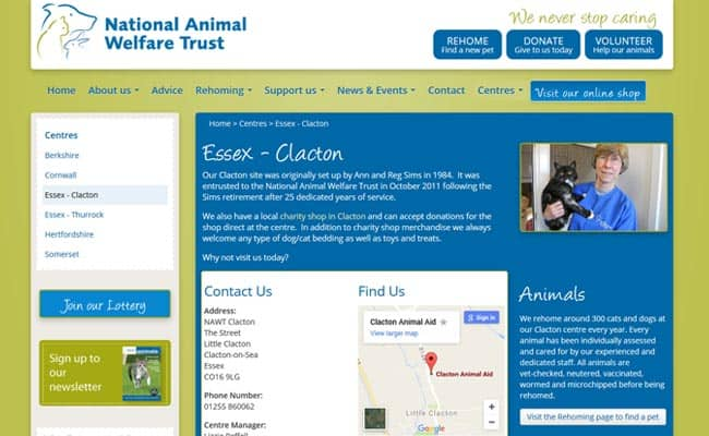 National Animal Welfare Trust, Clacton-on-Sea